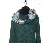 Изумрудное трикотажное платье с люрексом, весна-осень