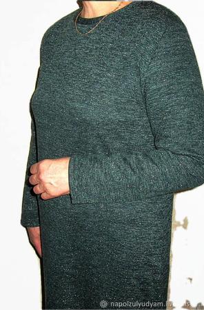 Изумрудное трикотажное платье с люрексом, весна-осень ручной работы на заказ