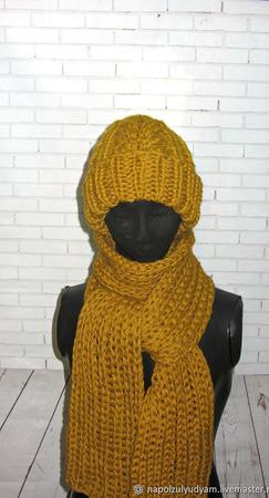 """Объемная шапка и длинный шарф """"Горчица"""" ручной работы на заказ"""