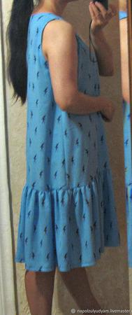 Платье из штапеля свободного кроя ручной работы на заказ