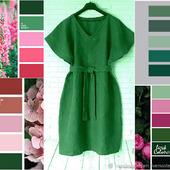 Темно-зеленое льняное платье-баллон