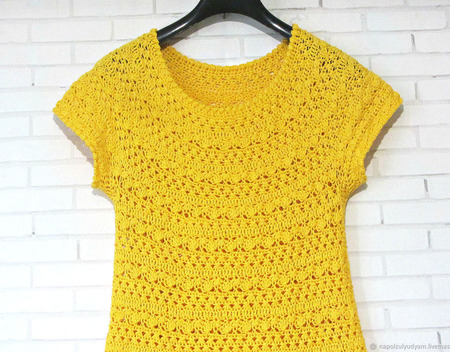 """Желтое вязаное платье из 100% хлопка """"Summer"""" ручной работы на заказ"""