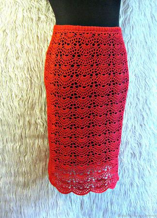 Красная ажурная вязаная юбка миди ручной работы на заказ