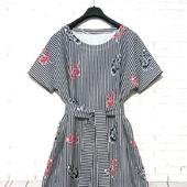 Платье с воланом по низу с якорями