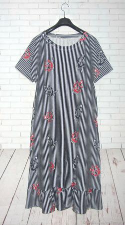Платье с воланом по низу с якорями ручной работы на заказ