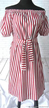 Платье в красную полоску ручной работы на заказ