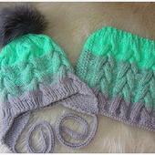 Комплект детский - шапка с завязками и снуд