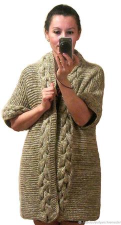 Кардиган из шерсти вязаный оверсайз ручной работы на заказ