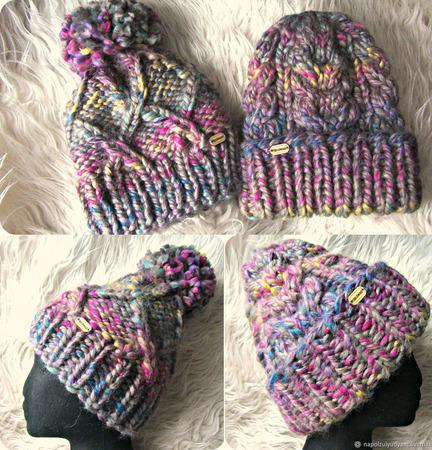 Объемная шапка из толстой пряжи ручной работы на заказ