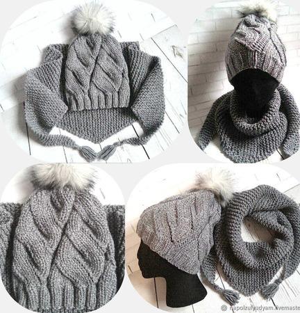 Комплект шапка снуд, шапка и бактус ручной работы на заказ