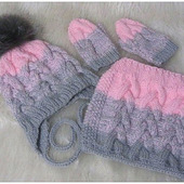 Комплект для девочки шапка, снуд, варежки