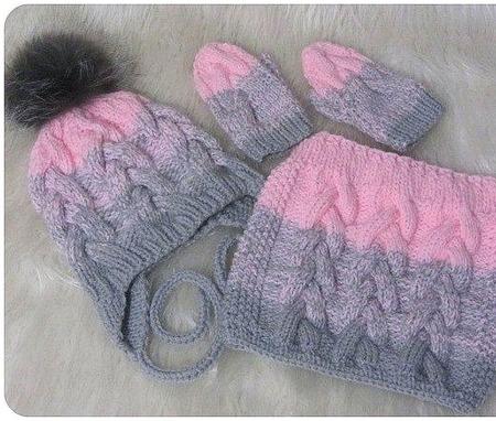 Комплект для девочки шапка, снуд, варежки ручной работы на заказ