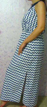 """Платье-сарафан из хлопка на вязаной кокетке """"Зигзаг"""" ручной работы на заказ"""