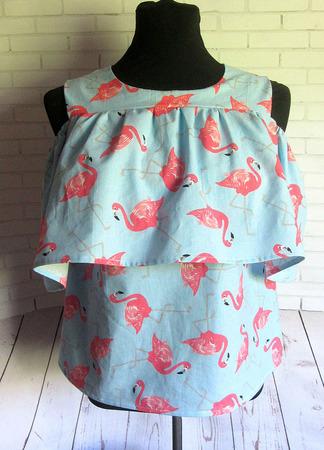 """Блуза из хлопка """"Фламинго"""" ручной работы на заказ"""