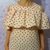 Блуза с воланом на плечах, блуза из хлопка