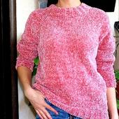 Вязаный пуловер из велюра + снуд