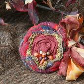Брошь текстильная «Осенний хоровод»