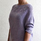 Пуловер с круглой кокеткой из ангоры с люрексом