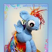 Вязаная игрушка пони Радуга