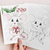 Новогодняя открытка ручной работы 2020 год Крысы