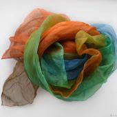 Палантин шарф Бархотки шелк батик коричневый оранжевый синий зеленый