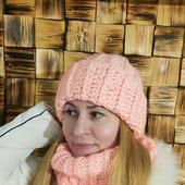 Персиковый комплект из мохера объемная шапка и снуд