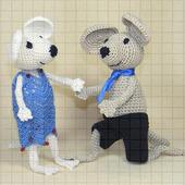 Набор мягких вязаных игрушек «Влюбленные мышата»