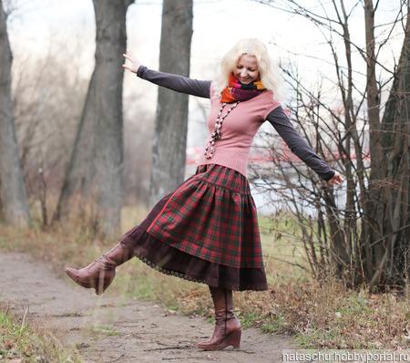 Юбка миди полушерстяная на осень-зиму ручной работы на заказ
