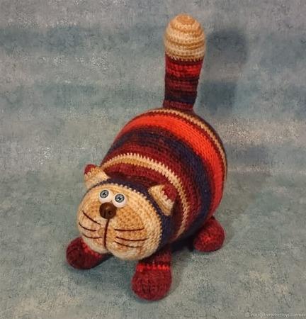 Кот Полосатик мягкая игрушка крючком ручной работы на заказ