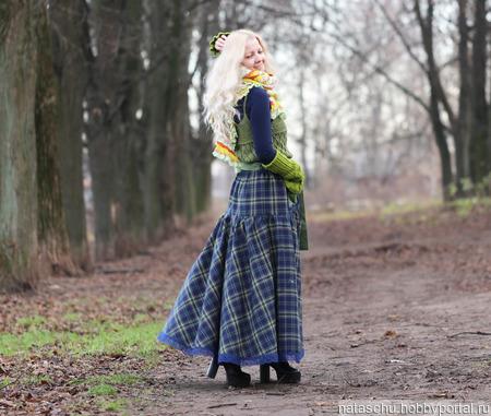 Шерстяная зимняя юбка в клетку ручной работы на заказ