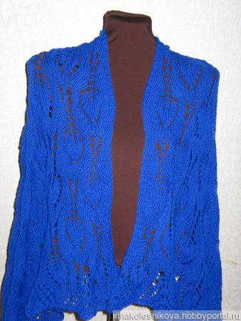 Палантин синего цвета ручной работы на заказ