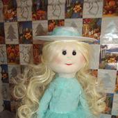 Кукла текстильная ручной работы в бирюзовом платье