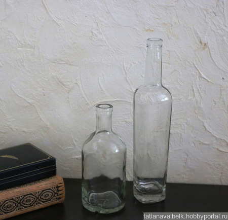 Бутылка прозрачная квадратно-округлая ручной работы на заказ
