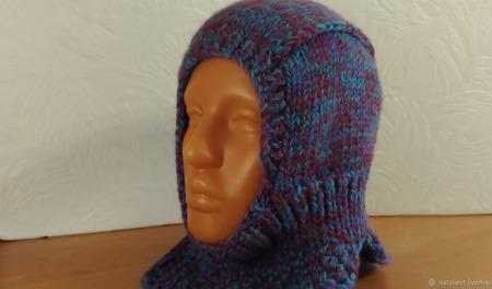 Шапка-шлем теплая зимняя ручной работы на заказ