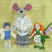 Набор вязаных мягких игрушек «Дюймовочка, король эльфов и полевая мышь»