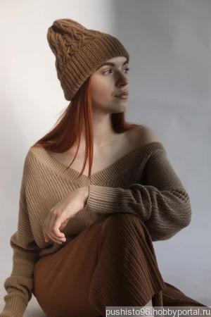 Шапка вязаная из верблюжьей шерсти ручной работы на заказ