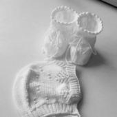Комплект для новорожденных(шапочка,пинетки)
