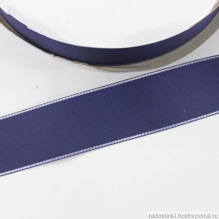 Репсовая лента однотонная с металлической кромкой ручной работы на заказ