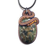 """Кулон зеленый сутажный, украшение из натурального камня """"Меланж"""""""