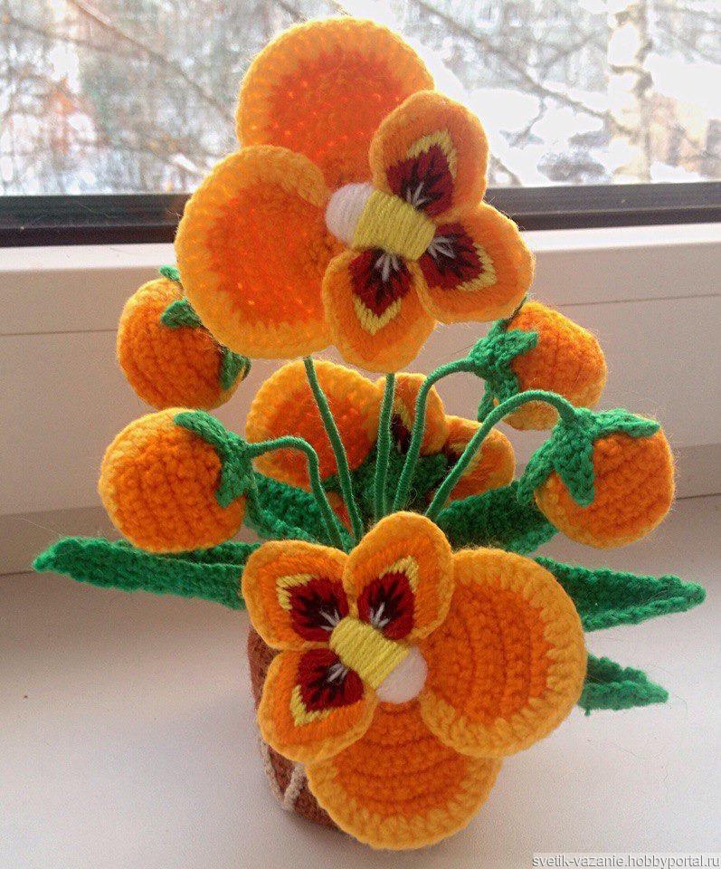 Вязаные цветы Анютины глазки – купить в интернет-магазине ...