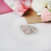 Серебряное колечко с розовым халцедоном