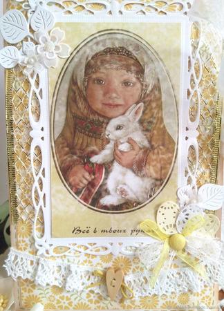 """Открытка пасхальная """"Девочка с кроликом"""" ручной работы на заказ"""