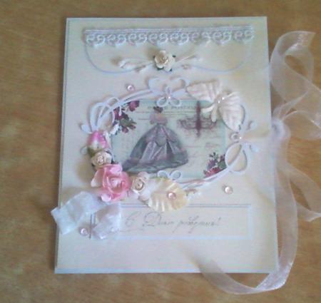 """Открытка на день рождения  """"Дама с розами"""" ручной работы на заказ"""