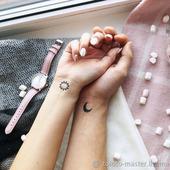 """Парные временные татуировки """"Солнце и луна"""" в ассортименте"""