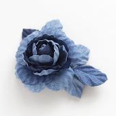 """Джинсовая брошь """"Цветок розы"""""""