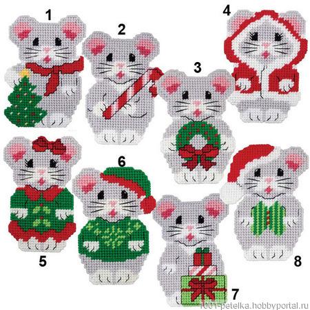 """Схемы для вышивки """"Рождественские мышки"""" ручной работы на заказ"""
