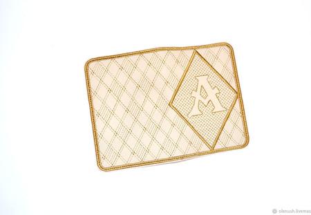 "Обложка на паспорт с инициалами ""А"" ручной работы на заказ"