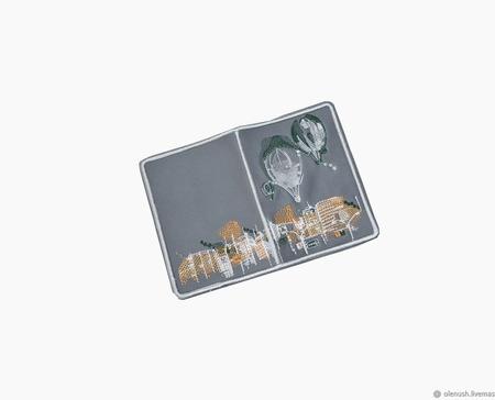 """Обложка для паспорта """"Город"""" ручной работы на заказ"""