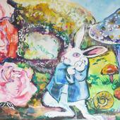 """Акварель """"Алиса в стране чудес. Белый кролик"""""""
