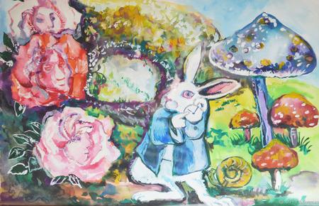 """Акварель """"Алиса в стране чудес. Белый кролик"""" ручной работы на заказ"""